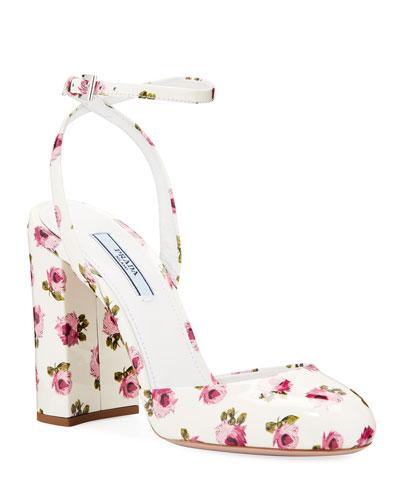 Floral Patent Ankle Pumps