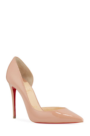 Christian Louboutin Iriza Patent Half-d'Orsay 100mm Red Sole Pumps