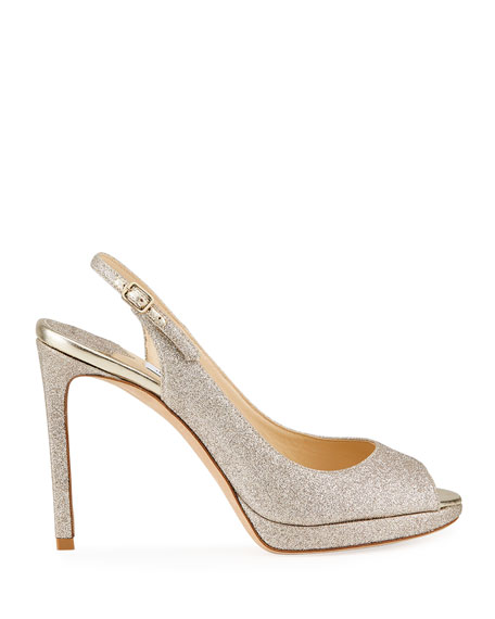 Image 2 of 4: Jimmy Choo Nova Glitter Peep-Toe Slingback Pumps