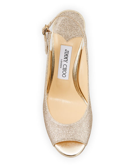 Image 3 of 4: Jimmy Choo Nova Glitter Peep-Toe Slingback Pumps