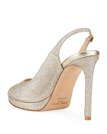 Image 4 of 4: Jimmy Choo Nova Glitter Peep-Toe Slingback Pumps
