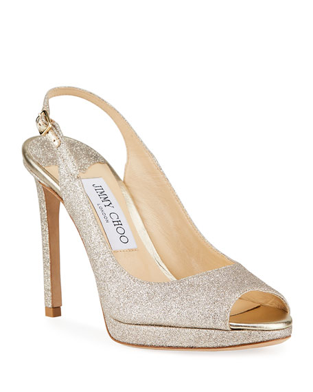 Image 1 of 4: Jimmy Choo Nova Glitter Peep-Toe Slingback Pumps