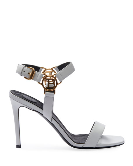 Image 2 of 4: Balmain Pernille Medallion Leather Sandals