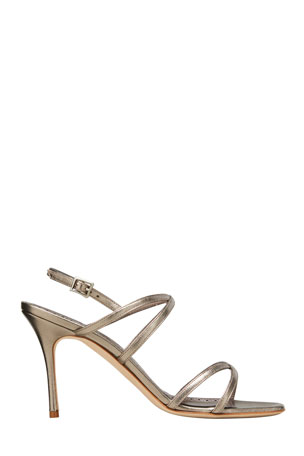 Manolo Blahnik Amazia Metallic Strappy Stiletto