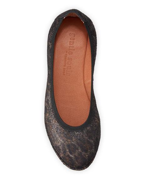 Gentle Souls Natalie Leopard Comfort Wedge Ballet Flats