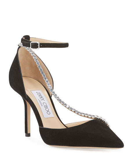 Jimmy Choo Talika Suede Pumps w/ Crystal Chain