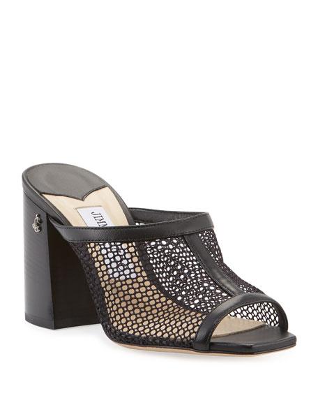Jimmy Choo Joud Leather Net Slide Sandals