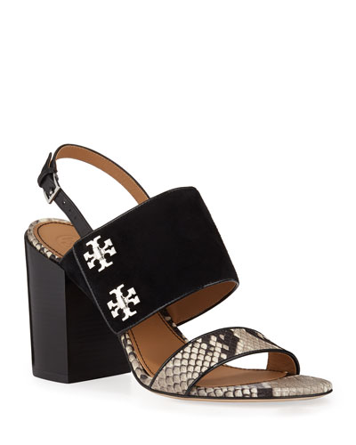 Kira Snake-Print Leather and Suede Sandals