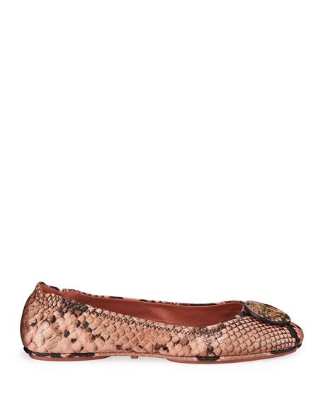 Tory Burch Minnie Travel Snake-Print Ballet Flats