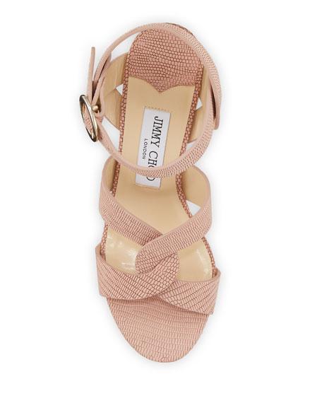 Jimmy Choo Aleili 100mm Snake-Print Leather Wedge Sandals