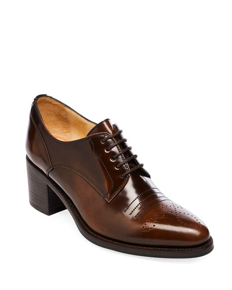 Image 1 of 3: The Office of Angela Scott Miss Button Derby Mid-Heel Loafers