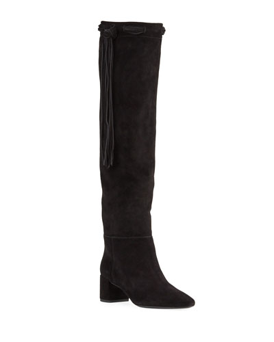 Laura Fringe Suede Knee Boots