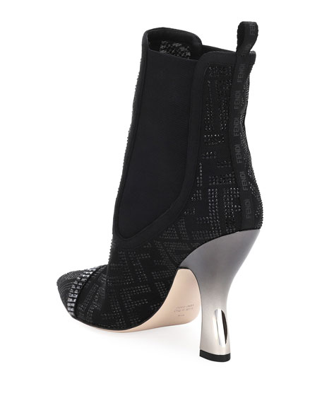 Image 2 of 2: Fendi Colibri 105mm Booties with Crystals