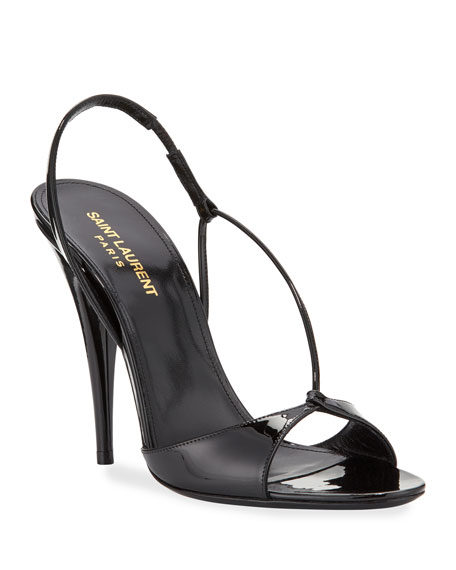 Image 1 of 3: Anouk Patent Slingback Sandals