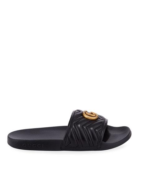 Gucci Pursuit Flat Leather Slide Sandals