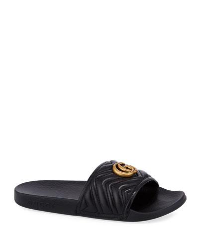 Pursuit Flat Leather Slide Sandals