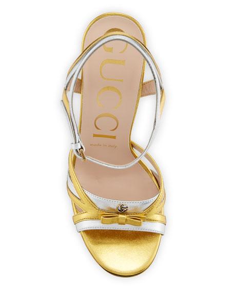 Gucci Alison 105mm Metallic Leather Platform Sandals