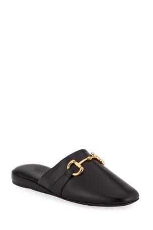 Gucci Pericle Leather Horsebit Mules