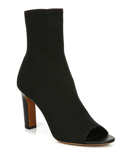 Vince Ezra Open-Toe Knit Booties