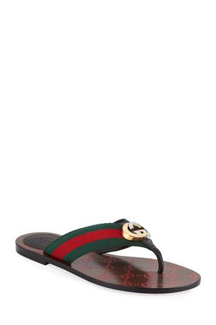 Gucci Kika Web Thong Sandals