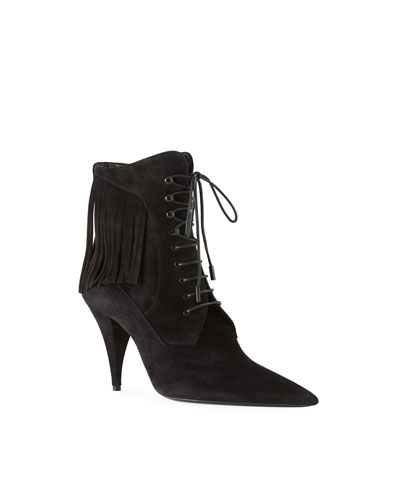 Kiki Suede Fringe Lace-Up Victorian Booties