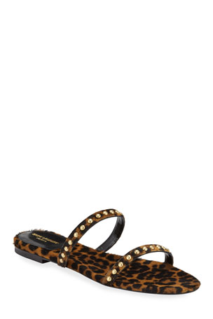 Saint Laurent Kiki Leopard Calf Hair Flat Sandals $260.00