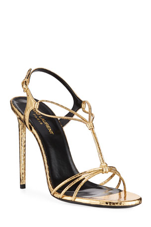 Saint Laurent Robin Metallic Snakeskin Sandals $994.00