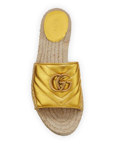 Gucci Pilar Flat Metallic Espadrille Slide Sandals
