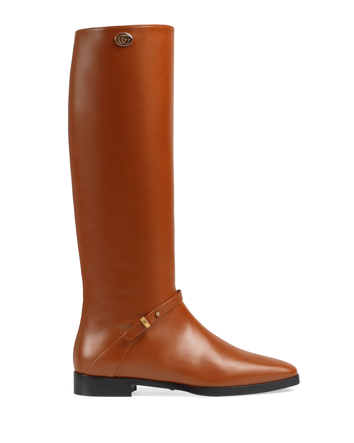 Rosie 25mm Leather Riding Boots by Gucci