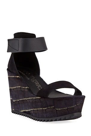 Pedro Garcia Udele Ankle-Strap Wedge Sandals