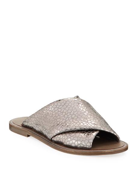 Brunello Cucinelli Flat Textured Leather Slide Sandals