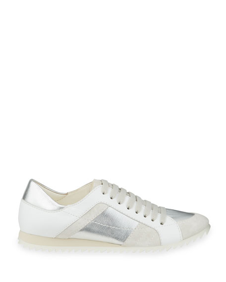 Image 2 of 4: Pedro Garcia Carolina Metallic Mixed Leather Trainer Sneakers