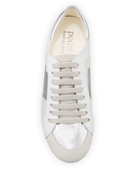 Image 3 of 4: Pedro Garcia Carolina Metallic Mixed Leather Trainer Sneakers