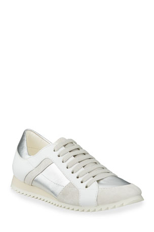 Pedro Garcia Carolina Metallic Mixed Leather Trainer Sneakers