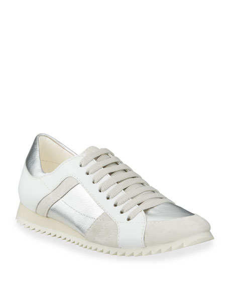 Image 1 of 4: Pedro Garcia Carolina Metallic Mixed Leather Trainer Sneakers