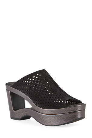 Pedro Garcia Fabrizia Perforated Mule Sandals with Cutout Heel
