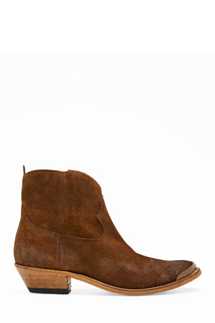 Golden Goose Young Suede Cap-Toe Western Booties