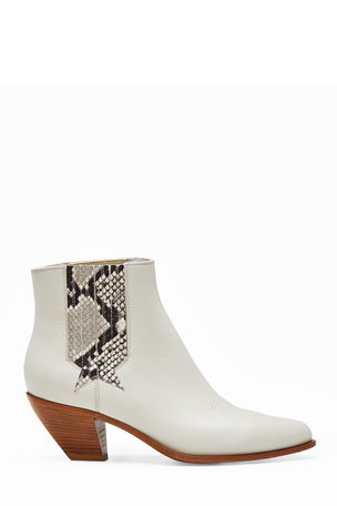 Golden Goose Sunset Snake-Print Leather Booties