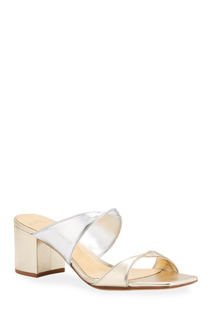 Alexandre Birman Miki Bicolor Twisted Metallic Leather Slide Sandals