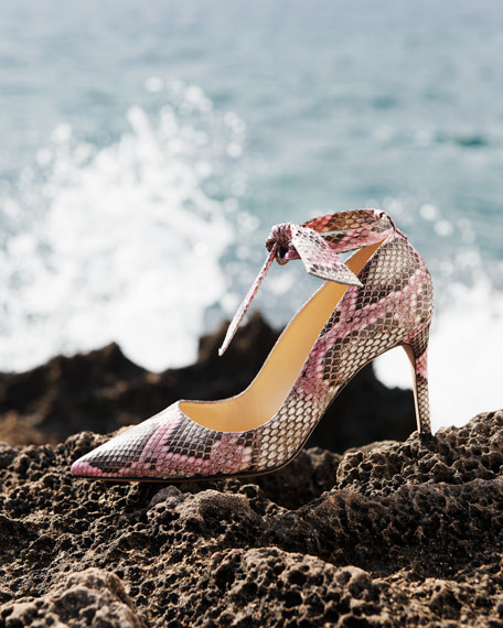 Image 2 of 5: Alexandre Birman Clarita Ankle-Wrap Python Pumps