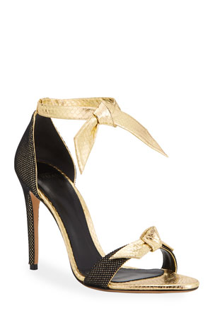 Alexandre Birman 100mm Clarita Metallic Snake Ankle-Tie Sandals