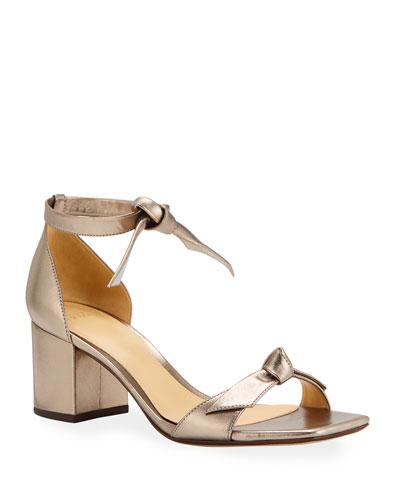 Clarita Metallic Ankle-Tie Sandals