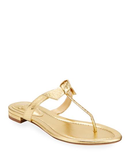 Alexandre Birman Clarita Naked Flat Watersnake T-Strap Sandals