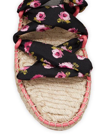 Prada Floral Scarf Tie Espadrille Sandals