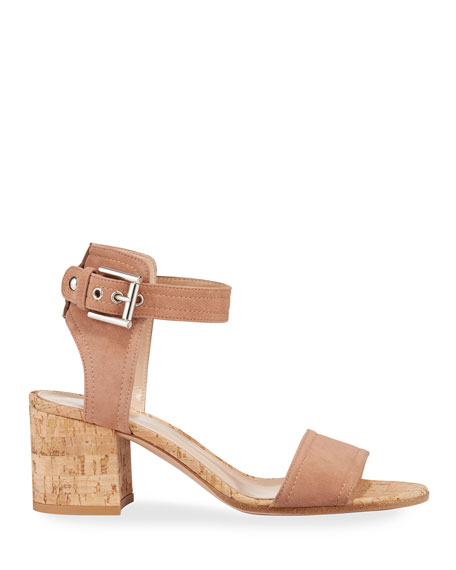 Image 2 of 3: Gianvito Rossi Suede Cork-Heel City Sandals