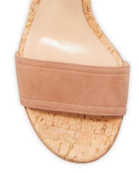 Image 3 of 3: Gianvito Rossi Suede Cork-Heel City Sandals
