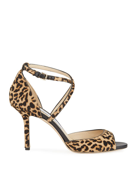 Jimmy Choo Emsy 85mm Leopard Sandals