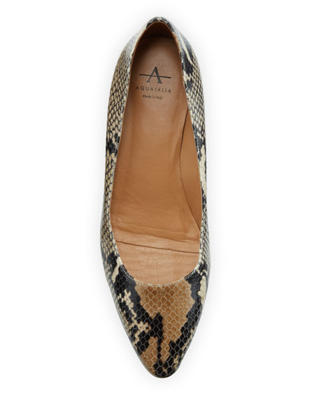Aquatalia Pasha Snake-Print Leather Pumps