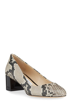 Jimmy Choo Jessie Snake-Print Block-Heel Pumps