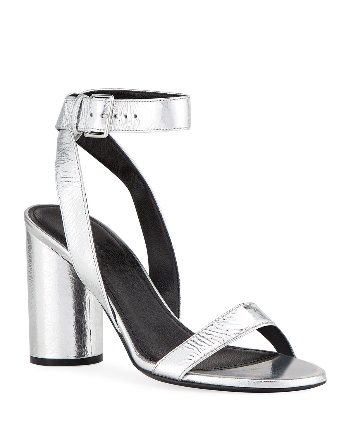 Balenciaga Oval Metallic Leather Ankle Sandals